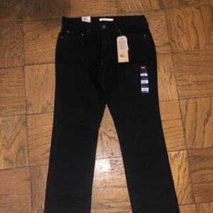 New Levi 505 Straight Stretch Black Jeans Size 8S